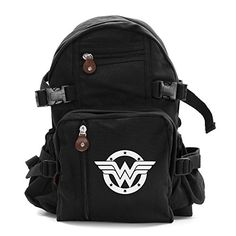 Wonder Woman Logo Army Sport Heavyweight Canvas Backpack Bag in Black  White Small ** Find out more about the great product at the image link.