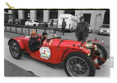 """Retro Auto Fiat Balilla Carry-All Pouch by Marina Usmanskaya.  Our pouches are great.  They're availabe in sizes from 6"""" x 5"""" up to 12.5"""" x 8.5"""".  Each pouch is printed on both sides (same image).  #MarinaUsmanskayaFineArtPhotograph #HomeDecor #ArtForHome #Italy #Ferrara #RetroCar #Balilla"""
