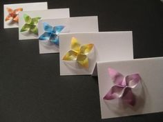 Origami Flower wedding table escort place card