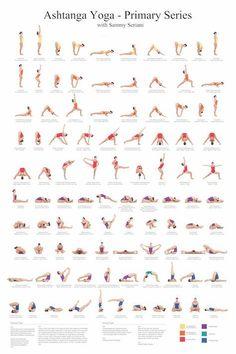 24 x 36 Ashtanga Yoga primäre Serie mit Sammy Seriani. Dieses Poster zeigt die Haltungen der primären Serie Vollfarb-Poster zeigt perfekte Ausrichtung der Haltungen. Ashtanga Yoga-Aufruf in der ursprünglichen Sanskrit, mit einer Übersetzung. Eine große Lernhilfe für Ihre Yogapraxis