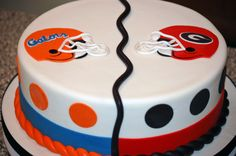 Are you in a House Divided too? Join our Community Board.  FL/GA House Divided by K Noelle Cakes. #WarEagle www.RollTideWarEa... Check out our blog and football rules tutorial with fun quizzes at the end. Learn more about the game you love. #CollegeFootball