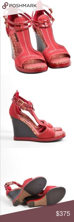 Louis Vitton wedges shoes Red with gold In very good condition Louis Vuitton Shoes Wedges