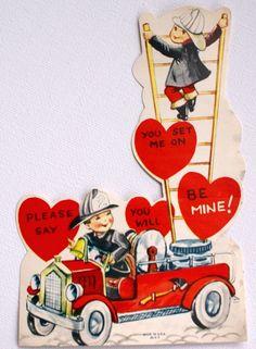 My man - the fireman - saving lives and property!  1950s Vintage Fireman