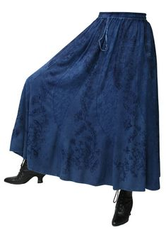 1800s Ladies Blue Floral Work Skirt | 19th Century | Historical | Period Clothing | Theatrical || Swirl Skirt - Indigo Blue
