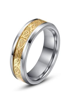 This unique tungsten carbide wedding band features an inlay of gold CELTIC DRAGON pattern. Light polished beveled edges bring all the attention to the stunning design. This chic comfort fit ring is the perfect wedding band to represent your love and commitment. This beautiful style is available in 6mm and 8mm for couples who want a matching set!
