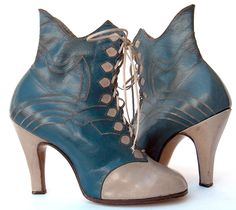 Blue and cream leather boots, c. 1935
