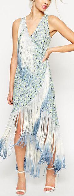 fringe midi print dress