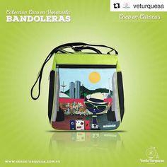 By @veturquesa La bandolera Coco en Caracas representa con amor esa magia indefinible que posee la Ciudad Capital llena de matices que nos hacen quererla y añorarla cuando la miramos de lejos.  Pide la tuya a través de   info@verdeturquesa.com.ve   http://ift.tt/1T86GnH   http://ift.tt/1ViPy4T  . #Carteras #Bolsos #DirectorioMModa #MModaVenezuela #DiseñoVenezolano #Moda #Fashion #Venezuela #latinoamerica #Worldwide #Shop #ShopOnline