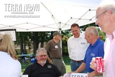 """Dan Heims, co-owner of Terra Nova Nurseries, chats with Joe Ward, general manager of Southwood Landscape & Nursery and Steve Smith (the Dirt Dude), Southwood's television personality and information specialist. Heims offered a free lecture on the """"World's Greatest Perennials"""" June 4, for the Linnaeus Teaching Garden 5th Anniversary."""