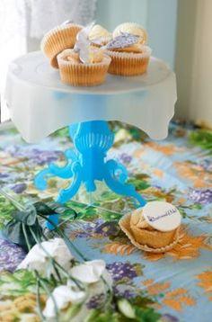 Just Bake Cake Toppers Cupcake Toppers, Cupcake Cakes, Vintage Baking, Blue Cakes, Just Bake, Cake Stands, Cake Plates, Tiered Cakes, No Bake Cake