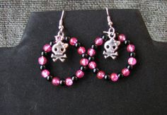 Pink and Black Girly Skull Earrings  Item by PirateKatsBooty