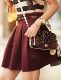 Burgundy skirt,always have one of these kicking around! Party Outfit For Teen Girls, Outfits For Teens, Casual Outfits, Fashion Outfits, Womens Fashion, Fashion Tips, Pantone, I Love Fashion, Fashion Beauty