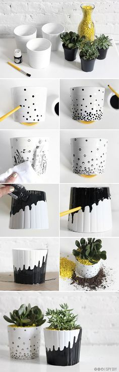 White ceramic pots handpainted with black acrylic enamel #DIY #gifts