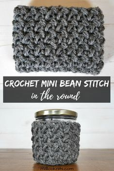 Learn how to crochet the mini bean stitch in the round with this simple trick!