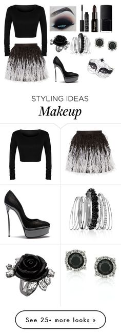 """Black Swan"" by amelia-rick on Polyvore featuring Alice + Olivia, NARS Cosmetics, Gorgeous Cosmetics, Avenue, Mark Broumand and Casadei"