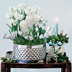 Clean, cheerful, bright white blooms bring the beauty and fragrance of spring indoors for the holidays! This all-white display will fit in with any setting, no matter how modest or formal.  Includes 3 Ziva Paperwhites, 3 White Pearl Hyacinths, 5 white Crocus, and 5 Snowdrops, for a total of 16 bulbs. Just add water and wait for this garden-in-a-can to burst forth with beautiful blooms! Once these long-lived plants are finally spent, the tin is well-suited for repurposing as a household…