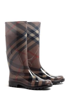 Burberry Shoes | Parkfield Smoked Check Rain Boots by Burberry Shoes