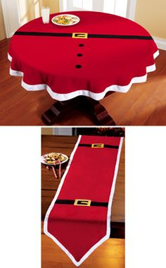 Christmas DIY: Santa Belt Decorativ Santa Belt Decorative Holiday Table Linens-buy red tablecloth/runner and make myself. Christmas Sewing, Santa Christmas, Winter Christmas, Christmas Quilting, Christmas Ornament, Christmas Table Decorations, Holiday Tables, Santa Decorations, Christmas Tables