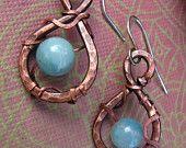 Amazonite earrings,  Spring Rain Earrings, Drop Hoop Earrings,  Antiqued Hammered Copper, blue stone, wire wrap, Lemurian Diamond