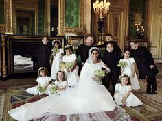 In this extraordinary image with their six bridesmaids and four page boys Prince George, third from the right is grinning cheekily as is Princess Charlotte, second left on the floor. Here the Duke and Duchess of Sussex were pictured in Green Drawing Room, Windsor Castle with (left-to-right): Back row: Brian Mulroney, Remi Litt, Rylan Litt, Jasper Dyer, Prince George, Ivy Mulroney, John Mulroney Front row: Zalie Warren, Princess Charlotte and Florence van Cutsem