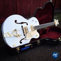 White Falcon Friday! Ready for the weekend with this one from @kylefarrell1 #gretsch #whitefalcon Learn to play guitar online at www.studio33guitarlessons.com