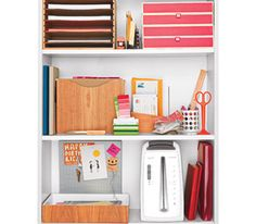Favorite: Prop a Paper Zone Give each and every piece a destination by committing a book-shelf to the cause.