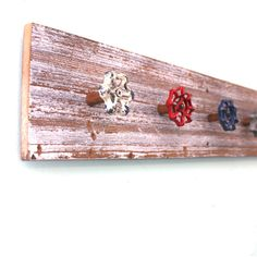 Red White and Blue garden faucet handle Display