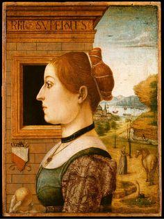 Portrait of a Woman, possibly Ginevra d'Antonio Lupari Gozzadini Attr. Maestro delle Storie del Pane,  Emilian School c. 1485-95 Tempera on wood