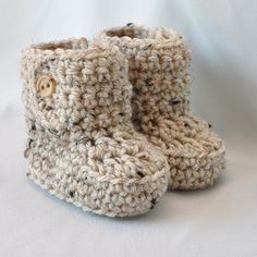 Baby Booties, Crochet Baby  Boots with button top in tan tweed, size 0 to 6 Months