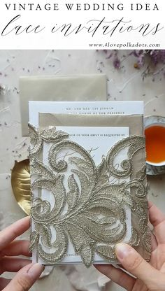 Lace wedding invitations with gold letters  letterpress  vintagestyle   glamourwedding  eleganceinvitations Nápady Na d74963f6589