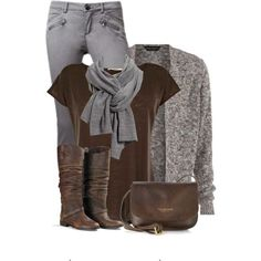 """Brown and Gray"" by daiscat on Polyvore"