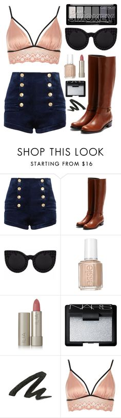"""""""☾-let's fight on even if we get sad and unable to stand up"""" by nerd-ville ❤ liked on Polyvore featuring Pierre Balmain, Rupert Sanderson, Delalle, Essie, Ilia, NARS Cosmetics, Urban Decay, River Island, shorts and women"""