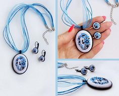 Micro embroidery set blue Ukrainian embroidery of Necklace and Earrings, Hand Embroidery, Gift for women, embroidered jewelry. Details. This beautiful of blue Ukrainian embroidery Necklace and Earrings, with a hand cross stitch embroidered. A perfect accessory or gift for the