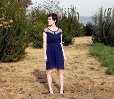 PETIT DEJEUNER - Navy blue chiffon dress with black lace neckline // retro // vintage inspired // nautical // bridesmaid dress