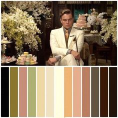 The Great Gatsby Color matching Movie Color Palette, Colour Pallette, Colour Schemes, The Great Gatsby Movie, Color In Film, Cinema Colours, Cinematic Photography, Photography Poses, Wedding Photography