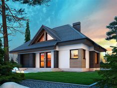 Projekt domu Reksio N+ 103,37 m2 - koszt budowy 180 tys. zł - EXTRADOM Modern House Floor Plans, House Plans, House Outside Design, House Design, Dream House Exterior, Facade House, Design Case, Home Fashion, Modern Farmhouse