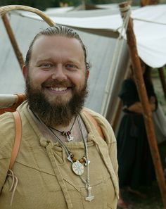 Reenactor with Viborg shirt, with a good view of the stitching. Viking market in Hobro, 2009. Photo © Claus Petersen