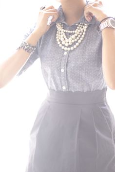 SO cute: navy skirt with chambray polka dot. JW fashion, modest. skirt outfit.