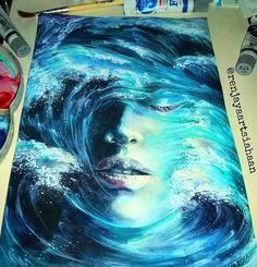 Surreal paintings by . Support their artwork. Painting Inspiration, Art Inspo, Art Bleu, Surrealism Painting, Wave Art, Paperclay, Mermaid Art, Ocean Art, Portrait Art