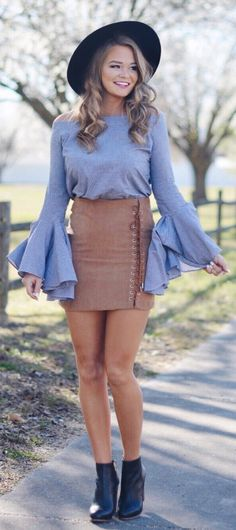 Black Hat / Grey Off Shoulder Knit / Brown Skirt / Black Leather Booties