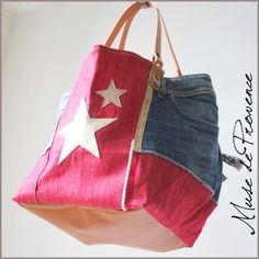 Sac cabas patchwork jean DINGUE ROUGE | Muse de Provence