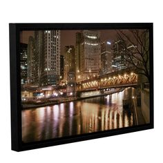 Chicago-Michigan Abenue Bridge by Dan Wilson Gallery-Wrapped Floater-Framed Canvas