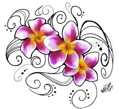 Plumeria 'J105' Flower Tattoo Design  Original Artwork by Styx, $30.00