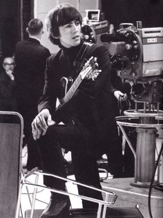 SCAN - George at the Scala Theatre during the filming of A Hard Day's Night, 1964. Photo by David Hurn