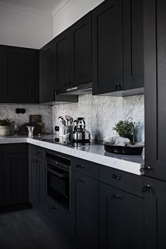 Stylish Ways to Decorate dark kitchen cabinets color schemes on this favorite site kitchen decor 31 Black Kitchen Ideas for the Bold, Modern Home Kitchen Cabinet Color Schemes, Kitchen Cabinet Colors, Home Kitchens, Kitchen Design, Kitchen Renovation, Modern Kitchen, Home Decor Kitchen, Kitchen Room Design, Kitchen Interior