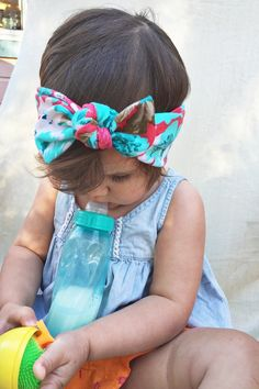 Hawaiin Floral top knot by turbansfortots on Etsy