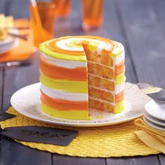 Candy corn is THE look for fall and Halloween, see how easy it is to create an impressive Candy Corn Cake using the Wilton® Easy Layers Cake Pan Set