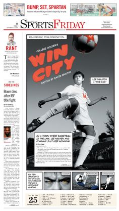 Win City, soccer layout Sin City style #Newspaper #Design #GraphicDesign