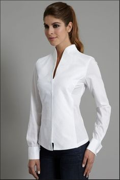 Tops with blouse collar Shirts for sewing class - Womens shirts with collars Stand Collar Shirt, Collar Shirts, Shirt Blouses, High Collar Blouse, White Shirts Women, White Women, Blouses For Women, Ladies White, Dress Shirts For Women
