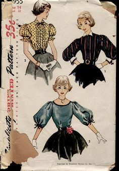 Items similar to Teen Blouse Pattern with Detachable Collar and Cuffs, Size Bust Simplicity Sewing Pattern Number Back to School on Etsy Sewing Patterns For Kids, Simplicity Sewing Patterns, Vintage Sewing Patterns, Vintage Outfits, Vintage Fashion, 1950s Fashion, Vintage Clothing, Sewing Blouses, Retro Pattern